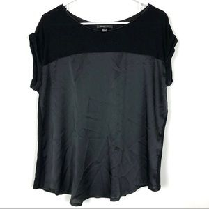 MNG Black Shirt Rolled Short Sleeves Two Tone